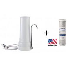 Συσκευή Φίλτρου Νερού Άνω Πάγκου ATLAS Depural με Ανταλλακτικό Φίλτρο Atlas CB-AF CTO 10SX 5mμ Made in USA