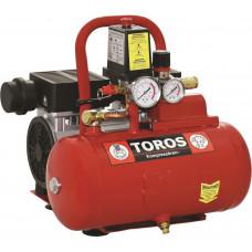 TOROS Αεροσυμπιεστής Μονομπλοκ Oil Free Silent 0,75Hp 6lt (40150) (Σε 3 άτοκες δόσεις)